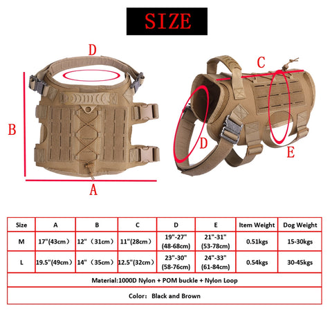dog harness molle size guide