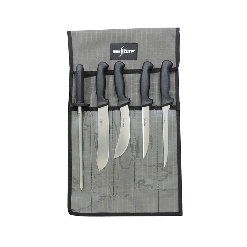 SICUT 6 Piece All Purpose Knife Package – Black Handle- Fishing, Hunting, Butchering,out door BBQ
