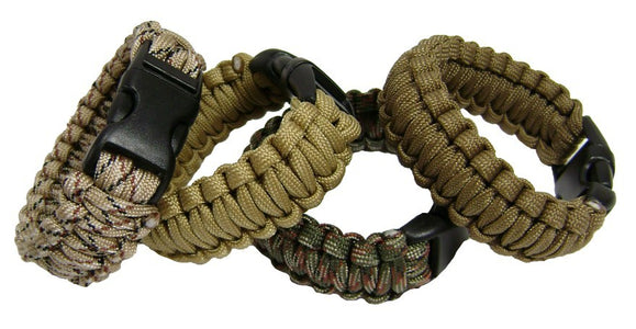RECON Para Cord Tactical Wrist Band - ATAC and Tan, RECON Para Cord Tactical Wrist Bands