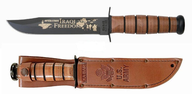 KA-BAR 9128 Bowie USMC Operation Iraqi Freedom Fixed Blade Knife (7″ Black)