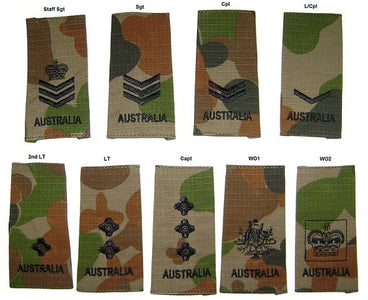 Australian Army Rank Slides Auscam