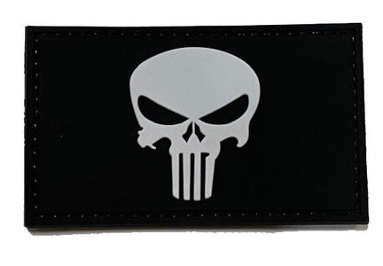 Black/white Punisher Patch in 3D PVC with velcro backing