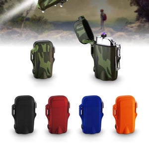 Mini Tactical Waterproof Plasma Dual Arc Lighter with Built in Flashlight