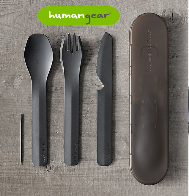 KNIFE FORK SPOON HUMANGEAR GOBITES TRIO HG0420 - TRAVEL CUTLERY SET - GREY