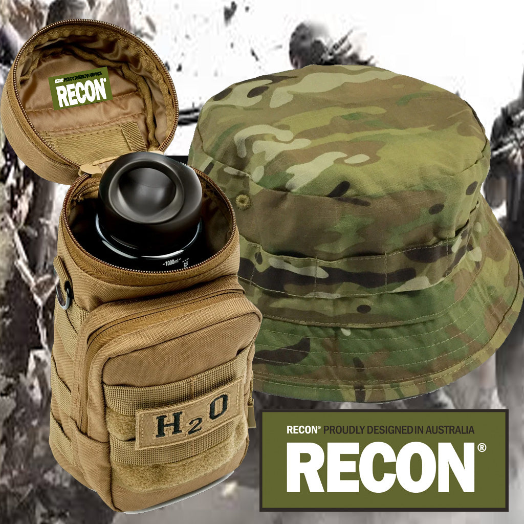 H2o Pouch & Small Brim Multi Cam Bush Hat Combination