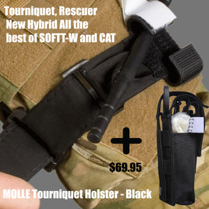 Tourniquet, Rescuer New Hybrid All the best of SOFTT-W and CAT plus Molle Pouch Combo