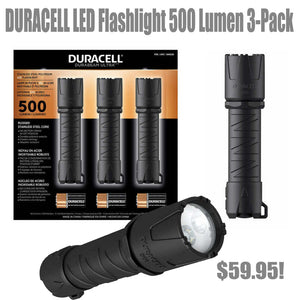 Duracell LED flashlight x 3 plus hand warmer combo