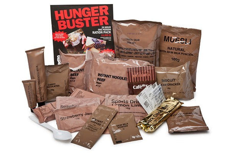 Hunger Buster 24hr 1 Man Army Food Ration Packs 13000Kj,army rations,army ration