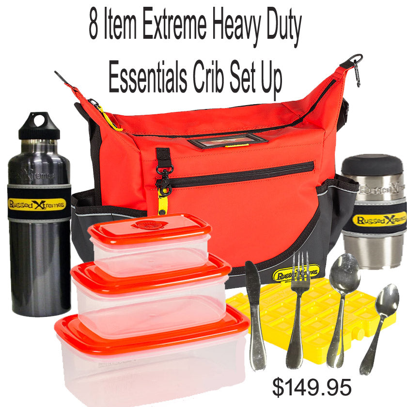 Extreme Essentials Rugged Heavy Duty 8 item crib/outback/emergency food & Drink set up.