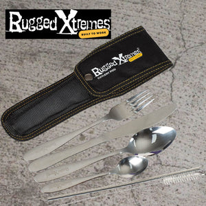 Rugged Extremes KFS Set Comprising Knife, Fork, Spoon, Straw plus cleaning brush