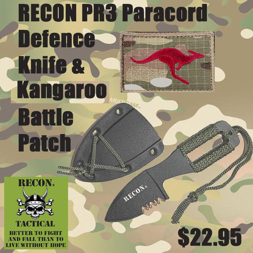 RECON PR3 Paracord Defence Knife & Kangaroo Battle Patch combo