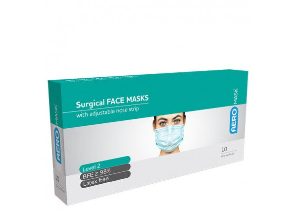 Aero Surgical Face Mask Level 2 with Earloops 10 Pack