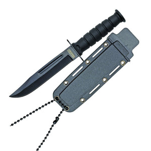 "6"" MILSPEC Army black Neck Knife with ABS Sheath and MOLLE clip"