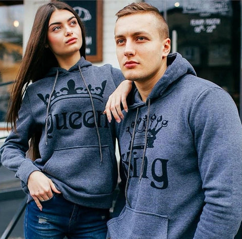Gray - King & Queen Hoodies