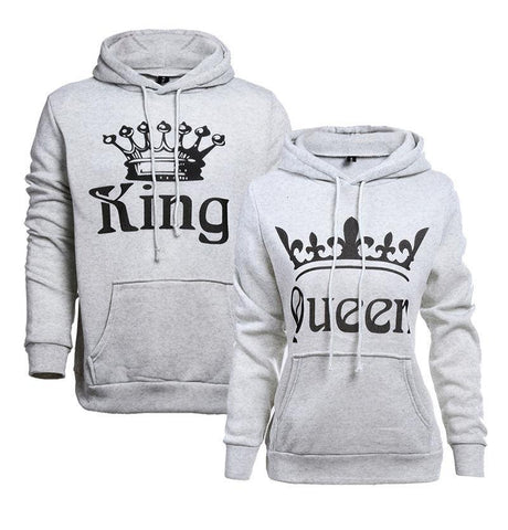 White - King & Queen Hoodies