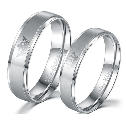 'His Queen Her King' Silver Rings