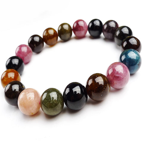 Bracelet perles en Tourmaline naturelle multicolors 12mm