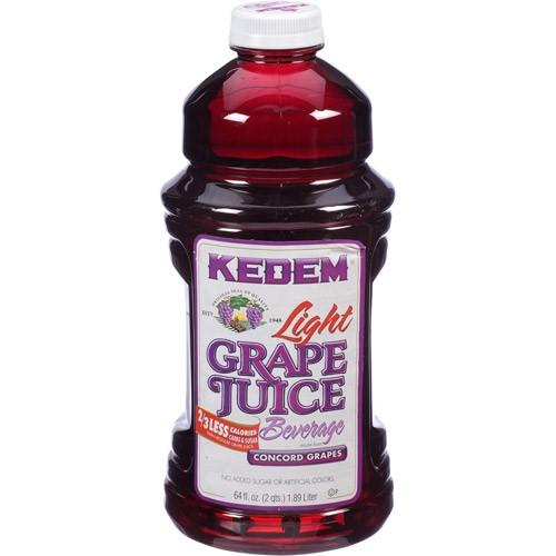 Kedem LITE Grape Juice 64oz Plastic Bottles - 8 Per Case