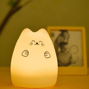 Silicone Soft  Cartoon Cat Led Lamp