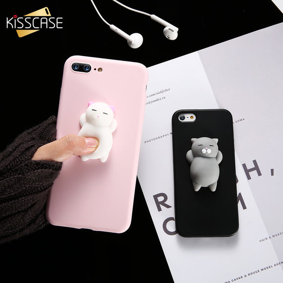 Squishy Cat Soft Phone Case for iPhone 5s SE 6 6sr 8 7 6s 8 plus