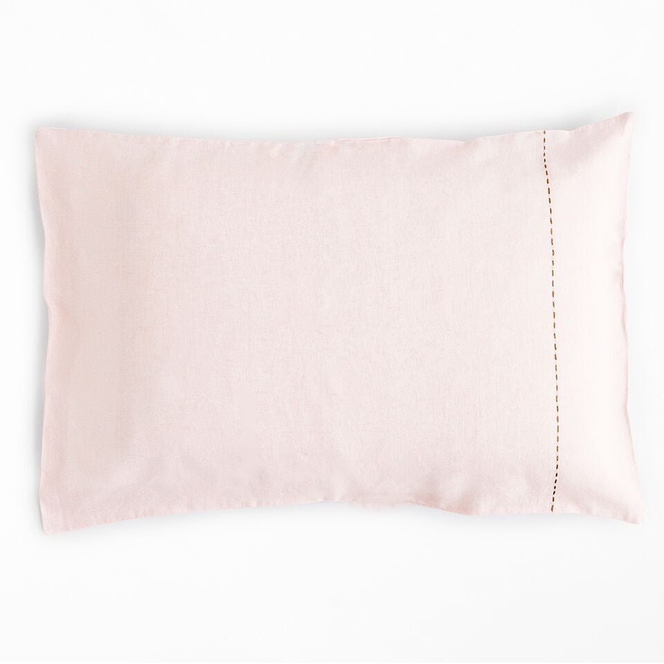 LINEN BLUSH SASHIKO PILLOWCASE
