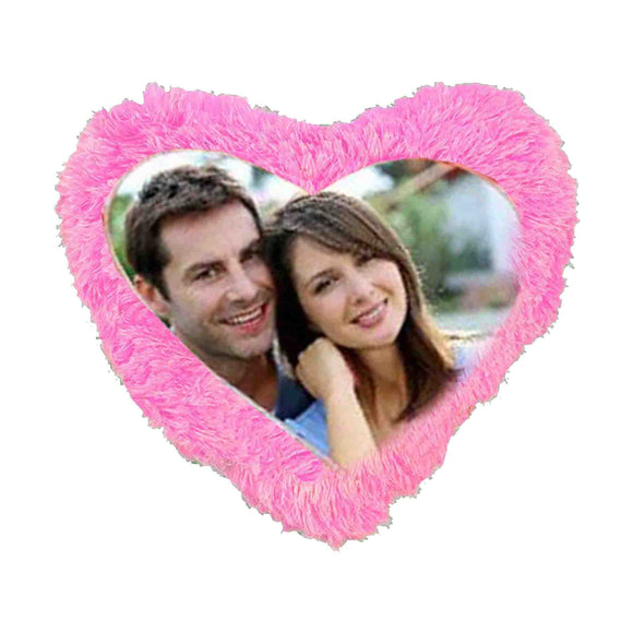 Fur Printed Heart Cushion - Pink
