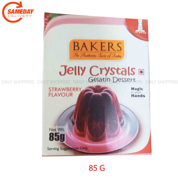 Bakers Jelly Crystals Gelatin Dessert, Strawberry Flavour - 85g