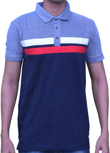 Men's Polo Navy Blue/Light Blue Mixed Pattern T-Shirt
