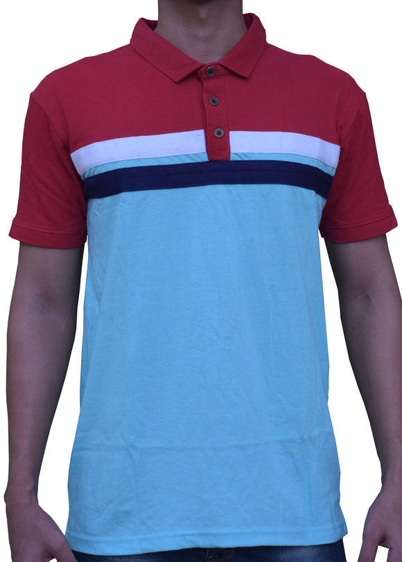 Men's Polo SkyBlue Mixed pattern T-Shirt