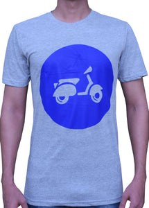 Light Gray and Dark Blue Vespa Design T-Shirt