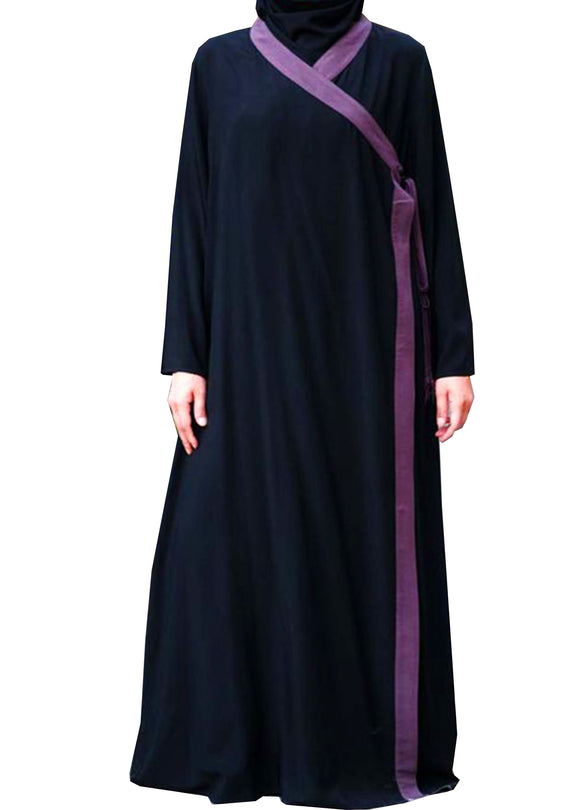 Warda Violet Boarder Black Plain Parda