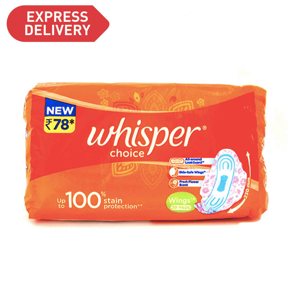Whisper Choice Wings Sanitary Napkins 20 pads