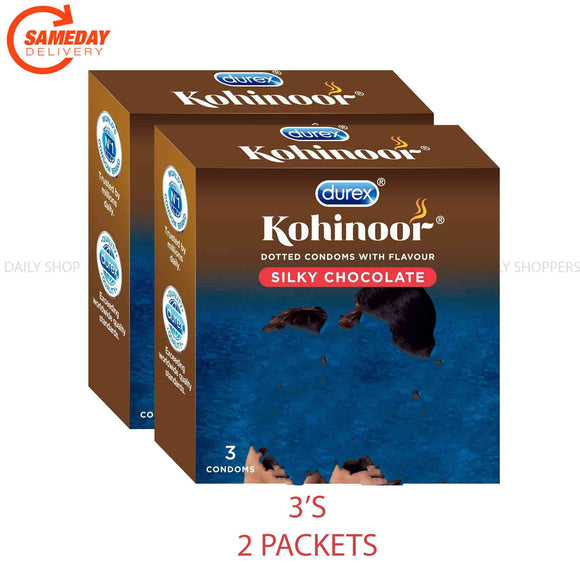 Durex Kohinoor Condoms - (Silky Chocolate)- 3's (2 പാക്കറ്റ്)