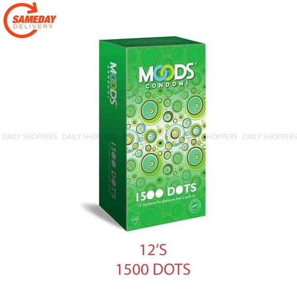 Moods 1500 Dots Dotted Condoms , Set of 12 Condom  (1 പാക്കറ്റ്)