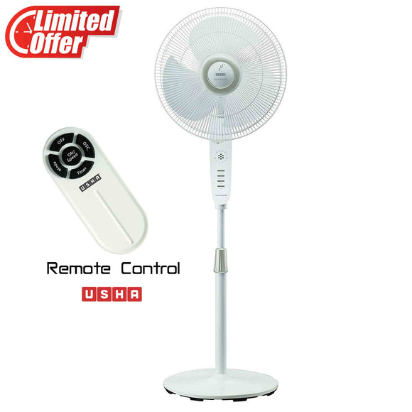 Usha Maxx Air Comfy 400mm Pedestal Fan with Remote (White)