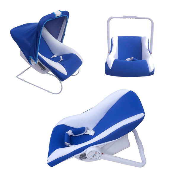 Blue - Ehomekart Carry Cot Cum Bouncer - 11 in 1 - Feeding Chair, Baby Chair, Rocker, Bath TUB, Carrying, Bouncer, Bottle Holder & Baby Swing
