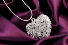 Silver Plated Hollow Heart Necklace