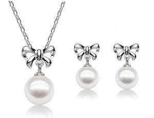 Simulated Pearl Bow Necklace & Earrings Set