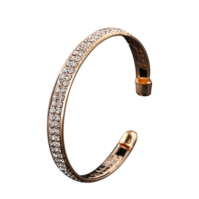 Crystal Rhinestone Open Bangle Bracelet