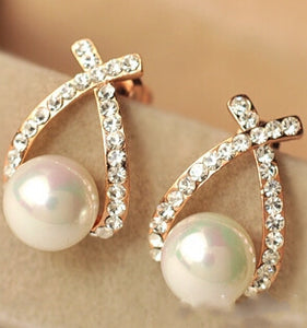 Crystal Cross Pearl Stud Earrings