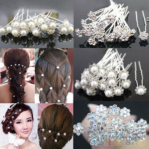 Faux Pearl or Crystal Flower Hairpins