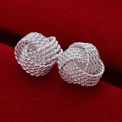 Silver Plated Mesh Knot Earrings