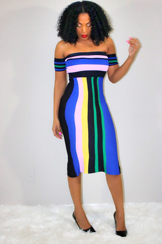 Madelyn | Stripe Bandeau Midi Bodycon