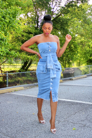 Pop of Denim | Midi Dress