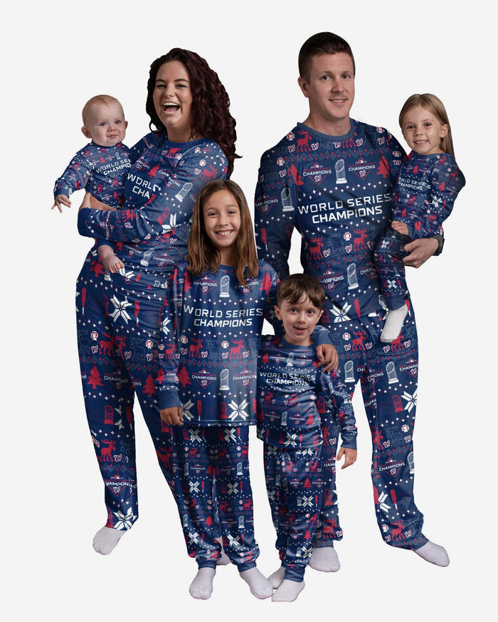 Washington Nationals 2019 World Series Champions Infant Family Holiday Pajamas FOCO - FOCO.com