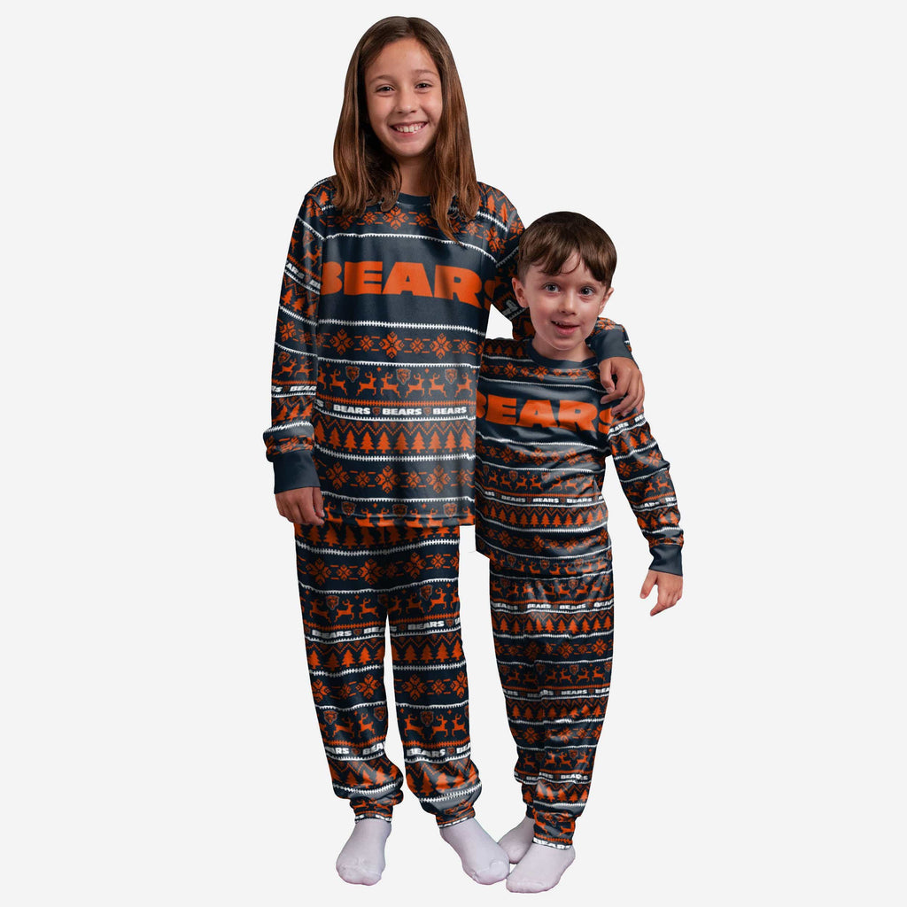 Chicago Bears Youth Family Holiday Pajamas FOCO 4 - FOCO.com