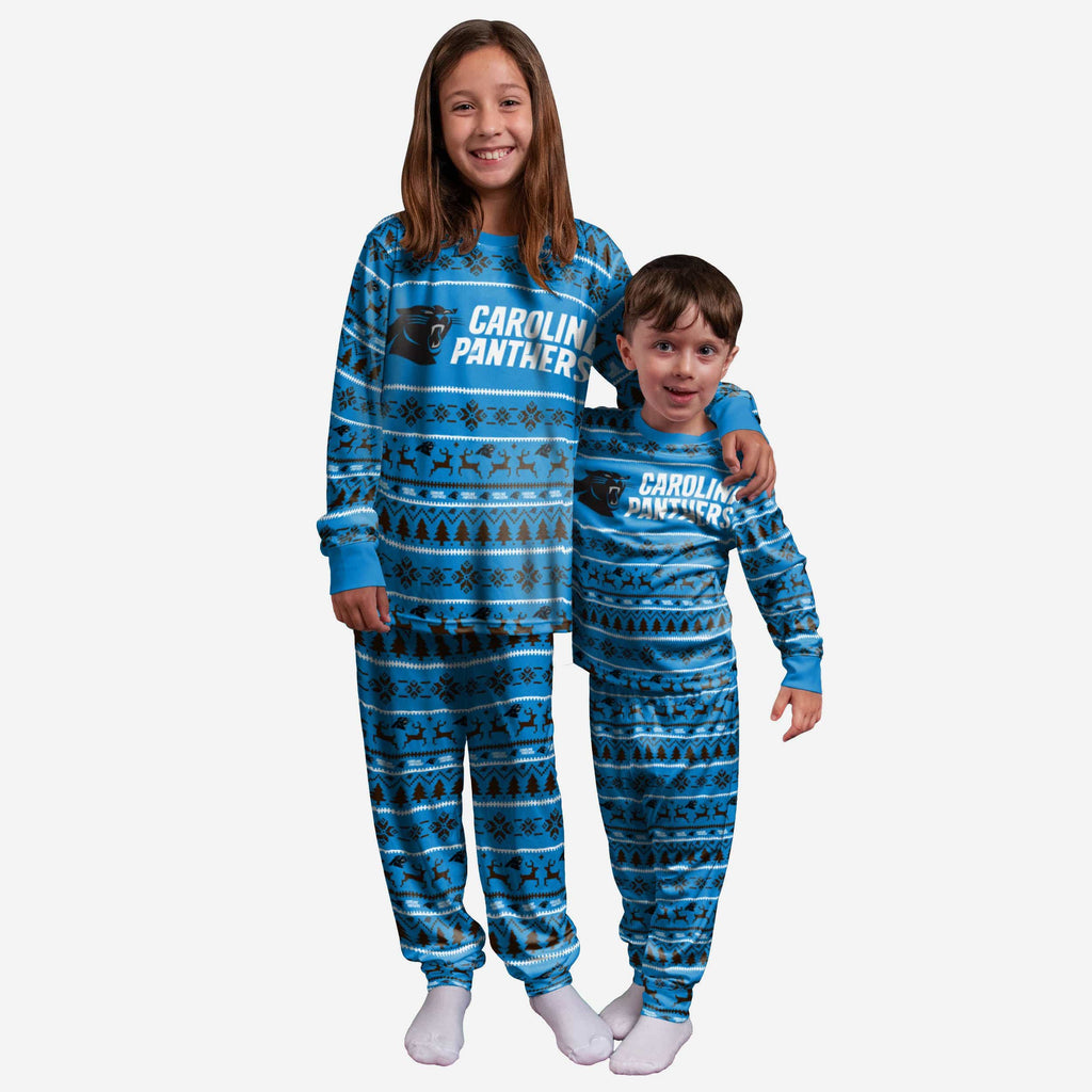 Carolina Panthers Youth Family Holiday Pajamas FOCO 4 - FOCO.com