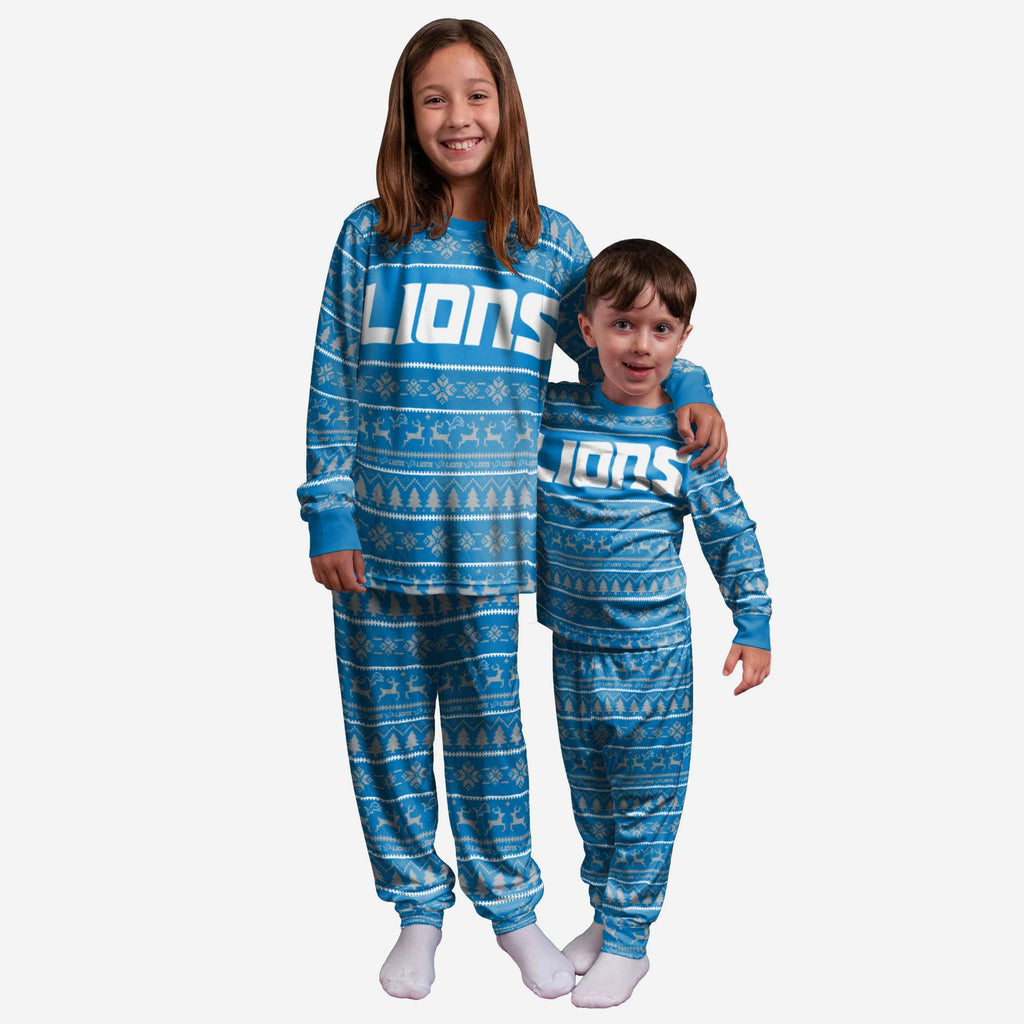 Detroit Lions Youth Family Holiday Pajamas FOCO 4 - FOCO.com
