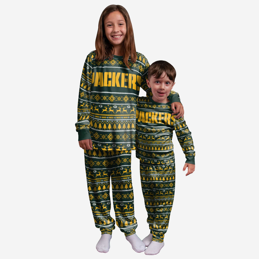 Green Bay Packers Youth Family Holiday Pajamas FOCO 4 - FOCO.com