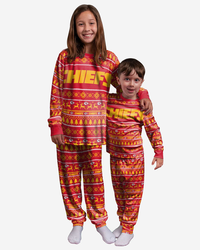 Kansas City Chiefs Youth Family Holiday Pajamas FOCO 4 - FOCO.com
